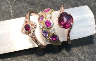 ruby ring, diamond ring, pink sapphire ring, garnet ring