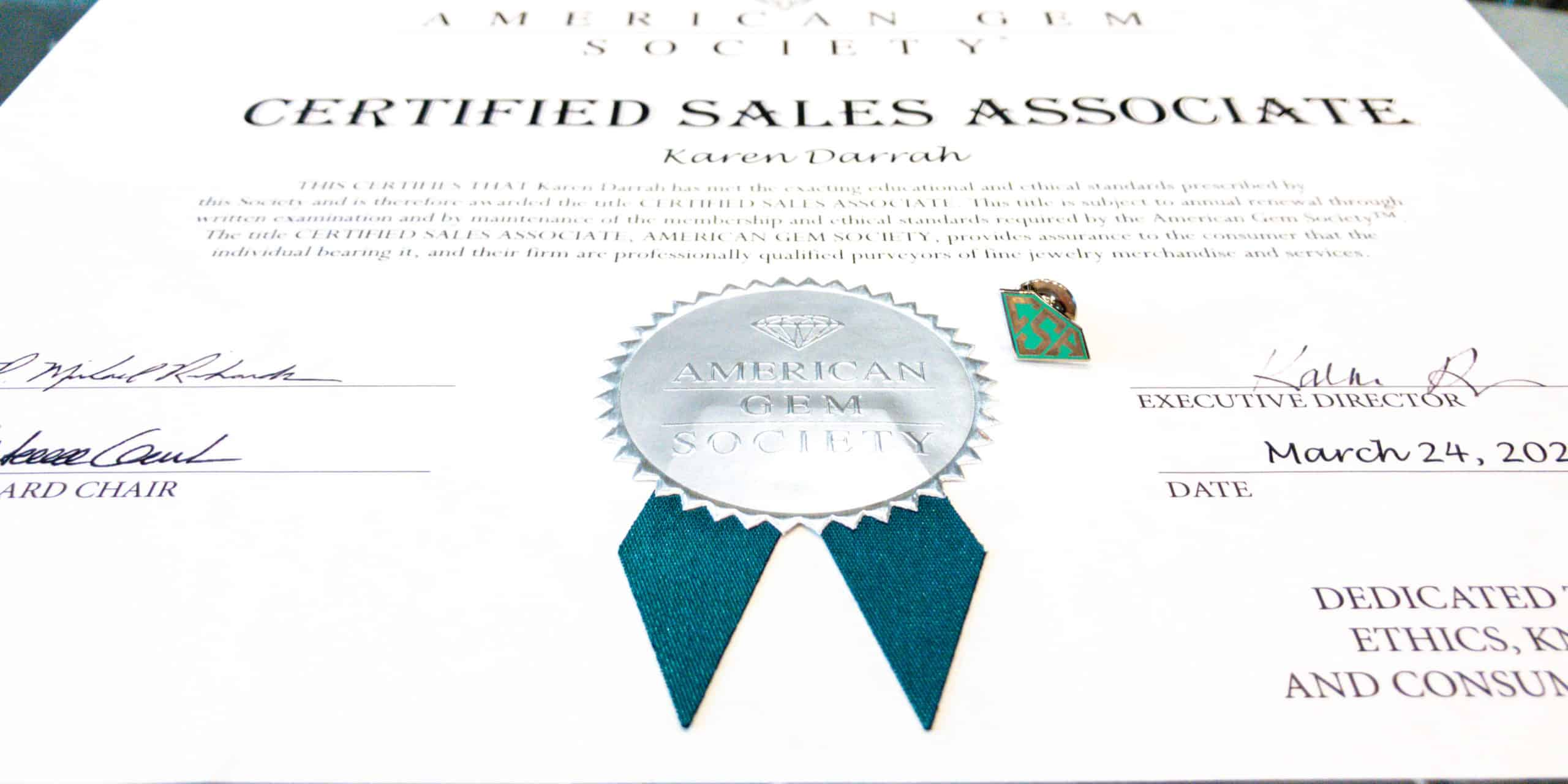 AGS Pin and Certificate